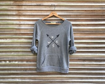 Road Trip Sweatshirt, Arrows Top, Gym Shirt, Yoga Pullover, Compass Shirt, S,M,L,XL,2XL