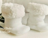Baby Boots. Booties. Easter Booties. White Fleece with Super Soft White Sherpa Minky Lining. Fast Shipping!