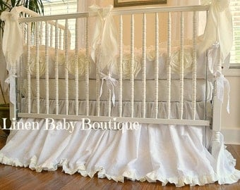White Linen Baby Bedding. 3 Pieces. White Linen with Large Ivory Flower Detail. Ready to Ship!!