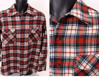 Plaid Pendleton Shirt. authentic vintage 50s 60s Red Wool Pendleton Shirt. Loop Collar Shirt. Flap Pockets no wool mark. mens size L Large