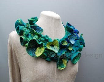 Hand felted silk shibori collar, neckpiece, OOAK wearable fiber art accessory, handmade women's statement fashion