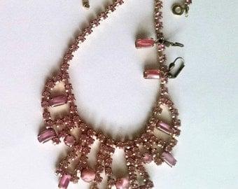 Vintage Necklace Earrings Set Pink Rhinestones Givre Glass Stones Vintage Wedding Jewelry Jewellery