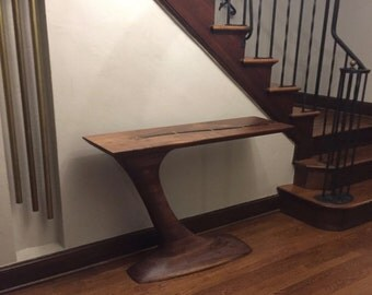 Sculpted cantilever walnut hall table