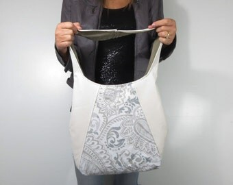 off white leather purse with paisley. choose medium or large purse shoulder or cross body bag.