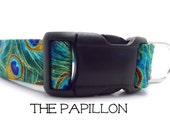 Peacock Dog Collar, The Papillon, Peacock Pattern, Peacock Feather, Girly Dog Collar, Cool Dog Collar, Fancy Dog Collar (Leash Available)