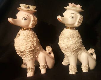 Pair of Vintage 1950s Spaghetti Porcelain French Poodles. Pink and White.