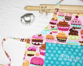 Personalized and Ruffled Sweet Cupcakes Child Apron - pink with teal polka dot - made to order