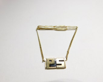 Vintage Tie Clip Chain By Swank with The Initials PS on it