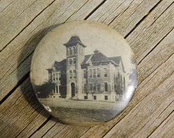 Antique Real Photo Victorian Era Pin Pinback Button of a School or Library Dr47