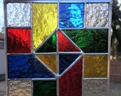 Contemporary Stained Glass Panel Quilt Block Colorful (PLG081)