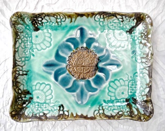Small tray, ceramic platter, Moroccan Decor, appetizer plate, India Decor, turquoise green, decorative tray, Vanity Tray, stamped ceramic