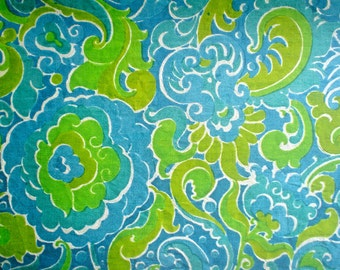 Vintage Vintage Silk Fabric Turquoise and Green 1960s Flower Power Print Dupioni by the Half Yard
