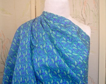 Vintage Silk Fabric Paisley Print Royal Blue and Emerald Green by the Half Yard