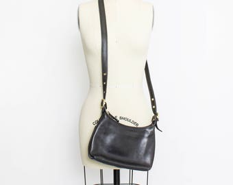 Vintage COACH Purse - 80s Black Leather Brass Adjustable Cross Body Bag