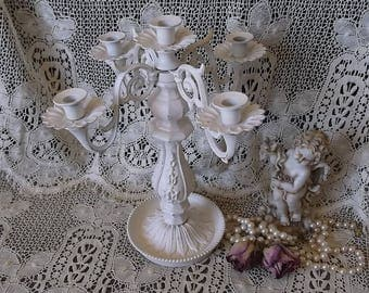 Shabby White Candleabra, metal, painted vintage, narrow cathedral candles, Shabby wedding