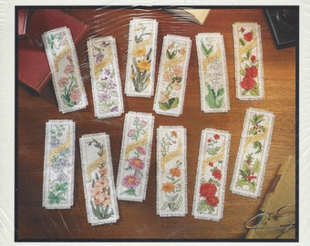 Bucilla Flowers of the Month Bookmarks Counted Cross Stitch Kit WM 45571 Unopened Cross Stitch Kit Perfect for Gifts Birthday Gift for Her
