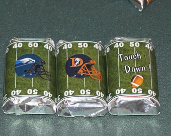 Football Miniatures, Football party favors, Football chocolate, Super Bowl personalized wrappers, Super bowl party, Set of 100.