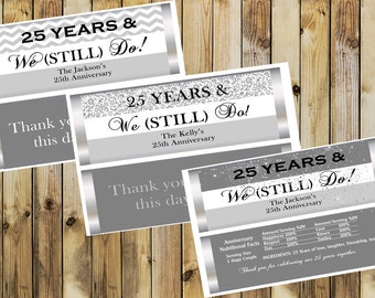 25th Wedding Anniversary, Wedding Anniversary party favors, 25th wedding anniversary candy bar wrappers, 25th anniversary favors. Set of 20.