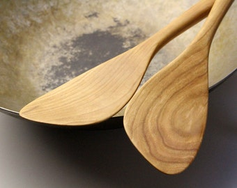 Handmade wooden stir fry tools carved from Cherry wood