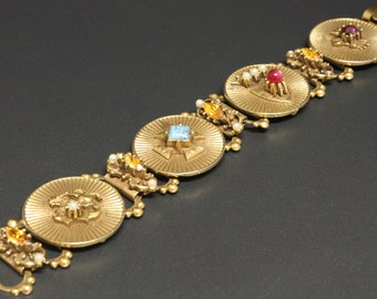"Coro Pegasus Bracelet ca 1940s Ornate & Fantastic Fluted Discs 7.25"" Long"