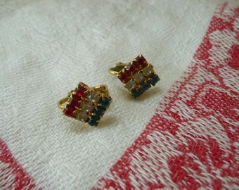 Beautiful Vintage Red, White And Blue Clip On Rhinestone Earrings - Show Your Patriotism