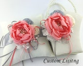 Flower Girl Basket and Ring Pillow - Handmade Satin Coral, Ivory and gold Flower and Roses - Custom Listing for a Special Guest