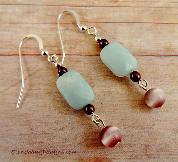 Amazonite and Czech Glass Earrings