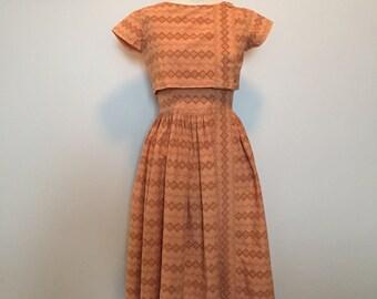 Vintage 50s brown Eyelet Dress Set