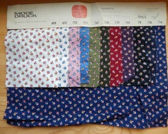 Vintage Fabric Samples Traditional German Cotton Floral Prints 9 colorways