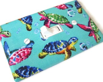 PSYCHEDLIC SEA TURTLES Light Switch Cover Plate Switchplate Nursery Decor Turtle Decor