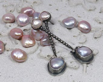 Silver with big and small freshwater pearls