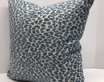 Pillow Cover in Deft Blue Chenille Animal Print Upholstery Fabric