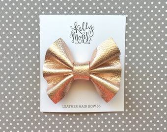 Leather Rose Gold Hair Clip - Medium