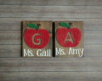Teacher Apple string art with name