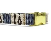 Blue Tribal Dog Collar | Your choice of metal buckle or plastic buckle | Blue Dog Collar | Girl Dog Collar | Boy Dog Collar | Aztec Collar