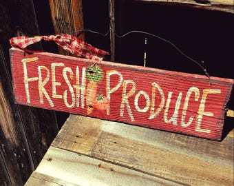 Fresh produce sign,rustic home decor,vegetable,farmhouse decor,farmhouse sign,country home decor,primitive wood sign,rustic wall decor,wood