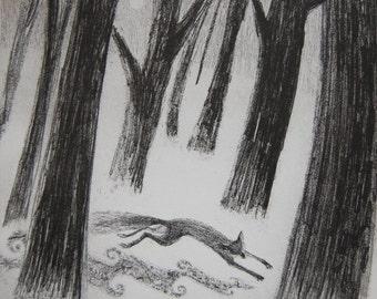 Mist-blanket, etching by Flora McLachlan, fox running through the mist, pine wood, dawn, trees