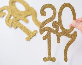 12 Gold Glitter //  Jumbo Graduation Confetti // 2017 // Party Decorations // Centerpieces // Grad // Prom // 12 pieces // 5.5 inches