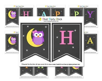 Happy Birthday Owl Printable Bunting Banner - Instant Download - Night Owl Collection