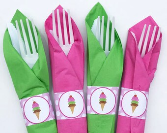 Ice Cream Napkin Rings Printable - Instant Download - Pink BubbleGum on Top Collection