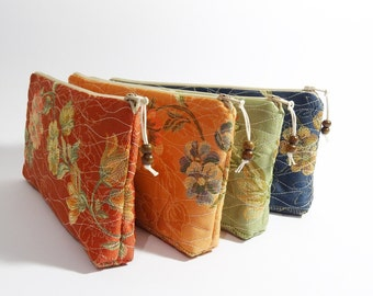 Rustic Clutches Mismatched, Cosmetic Pouches Bridesmaid Gift Idea, Floral Purse Color Choice