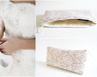 Wedding Clutch for Bride, Brauttasche, White / Maroon Lace Bridal Clutch, Bride Cosmetic Purse, Bridal Shower Gift