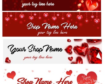 Ready Made Red Heart Love Valentine Shop Banner - you pick one