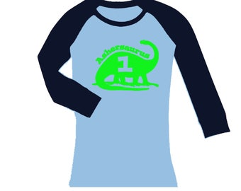Dinosaur Birthday Shirt - cropped/long sleeves fitted raglan -any age and name - pick your colors!