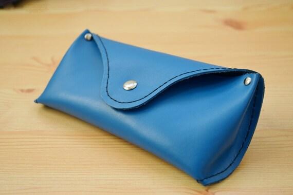 Glasses case,leather cover,sunglasses case,glasses cover,leather case,blue leather case,red glasses case,mens glasses case,blue case