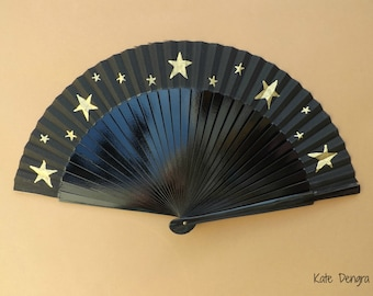 5 Pointed Star Folding Hand Fan SIZE OPTIONS Wood Fabric Hand Painted Black with Gold Stars by Kate Dengra Spain