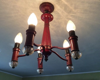 Vintage 1940's traditional style tole painted five bulb chandelier