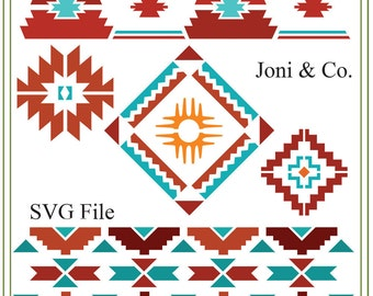 Southwest svg, Southwest patterns, Native American svg Border patterns Use for iron on transfers, printable cards, vinyl cutting projects.