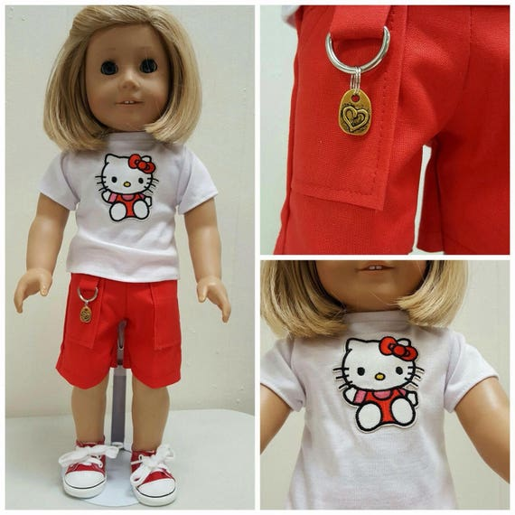 Cargo Shorts, Hello Kitty Tshirt or Red Sneakers American Handmade