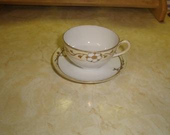 vintage bone china tea cup saucer set embossed gold scroll